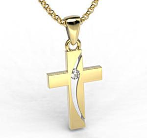 Krzyż wykonany z żółtego złota z diamentem KR-4Z - 2824315569