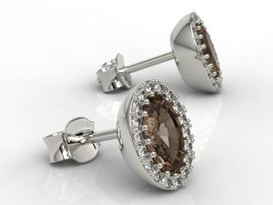 Kolczyki z białego złota z kwarcami dymnymi i diamentami APK-49B - Białe \ kwarc dymny - 2824315582