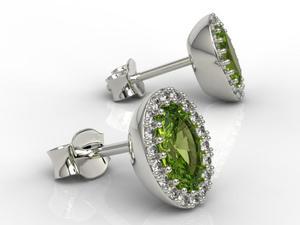 Kolczyki z białego złota z oliwinami i diamentami APK-49B - Białe \ Oliwin - 2824315583