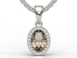 Wisiorek z białego złota z kwarcem dymnym i diamentami APW-49B - Białe \ kwarc dymny - 2824315588
