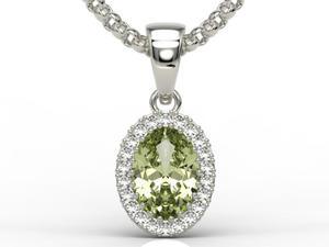 Wisiorek z białego złota z oliwinem i diamentami APW-49B - Białe \ Oliwin - 2824315589