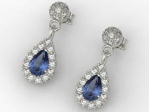 Kolczyki z białego złota z szafirami i diamentami APK-29B - Białe \ Szafir - 2824315613