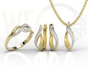 Zestaw - Pierścionek, kolczyki i wisiorek z żółtego i białego złota z diamentami BP-17ZB-ZEST - 2824316434