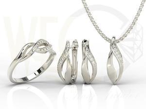 Zestaw - Pierścionek, kolczyki i wisiorek z białego złota z diamentami BP-17B-ZEST - 2824316435