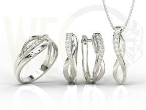 Zestaw - Pierścionek, kolczyki i wisiorek z białego złota z diamentami LP-6708B-ZEST - 2824316439
