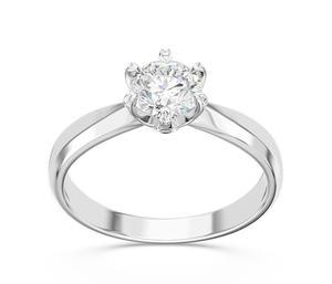 Pierścionek zaręczynowy z białego złota z cyrkonią AP-3668B-C - Białe - 2824315721
