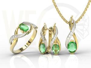 Komplet - Pierścionek, kolczyki i wisiorek z żółtego i białego złota ze szmaragdem i brylantami AP-69ZB-ZEST - żółte i białe złoto ze szmaragdami i brylantami - 2824316440
