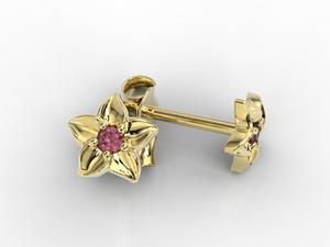 Kolczyki w formie kwiatu z żółtego złota z rubinem BPK-15Z - 2824315736