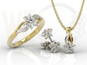 Komplet - Pierścionek, kolczyki i wisiorek z żółtego i białego złota z diamentem BP-14ZB/BP-15ZB ZESTAW - 2824316446