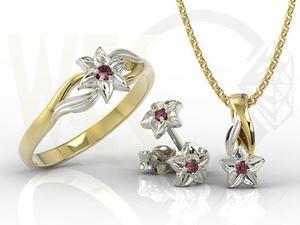 komplet - Pierścionek, kolczyki i wisiorek z żółtego i białego złota z rubinem BP-14ZB/BP-15ZB ZESTAW - 2824316450