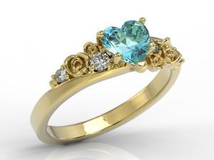 Pierścionek z żółtego złota z topazem Swarovski Blue i diamentami AP-5312Z - 2824315815