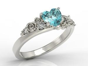 Pierścionek z białego złota z topazem Swarovski Blue i diamentami AP-5312B - 2824315817