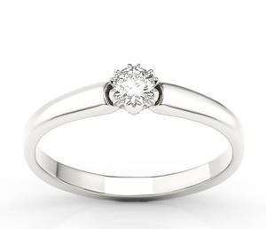 Pierścionek zaręczynowy z białego złota z brylantem 0,20 ct wzór BP-2120B - 2824315833