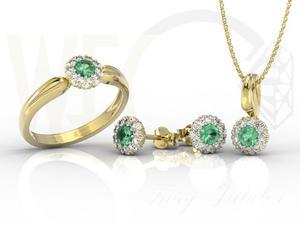 Zestaw: pierścionek kolczyki i wisiorek ze szmaragdami i diamentami AP-42ZB - 2824316453