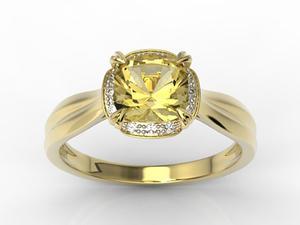 Pierścionek z żółtego złota z cytrynem i brylantami AP-45Z-R - 2824315930