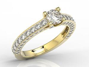 Pierścionek z żółtego złota z cyrkoniami LP-16Z-R - Żółte z rodowaniem \ Cyrkonia \ ok. 6.078 ct. - 2824316044