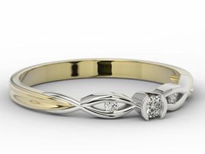 Pierścionek z żółtego i białego złota z brylantami model AP-5608ZB - 2824314423