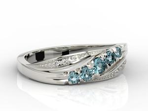 Pierścionek z białego złota z topazami i diamentami AP-4603B - 2824314428