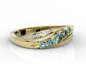 Pierścionek z żółtego złota z topazami i diamentami AP-4603Z-R - 2824314429