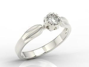 Pierścionek zaręczynowy w kształcie konwalii AP-4027B z białego złota z brylantem 0,27 ct. - Białe \ Diament - 2824316246