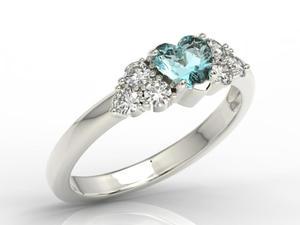 Pierścionek z białego złota z niebieskim topazem Swarovski i diamentami BP-54B - Topaz Swarovski Blue - 2824316336