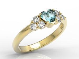 Pierścionek z żółtego złota z niebieskim topazem Swarovski i diamentami BP-54Z - Topaz Swarovski Blue - 2824316339