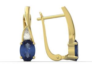 Kolczyki z żółtego złota z szafirami i diamentami APK-60Z-R - 2824316391
