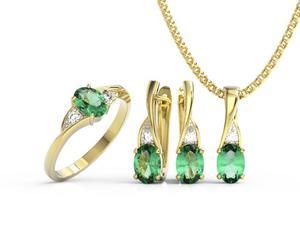 Zestaw: pierścionek, kolczyki i wisiorek z żółtego złota ze szmaragdami i diamentami AP-60Z-R-ZEST - 2824316607