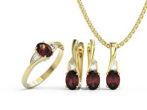 Zestaw Pierścionek, kolczyki i wisiorek z żółtego złota z granatami i diamentami AP-60Z-R-ZEST - 2824316608