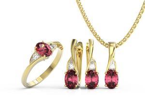 Zestaw Pierścionek, kolczyki i wisiorek z żółtego złota z rubinami i diamentami AP-60Z-R-ZEST - 2824316609