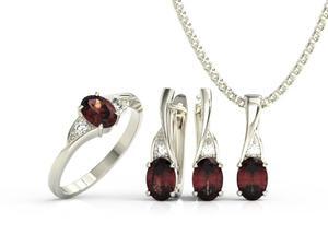 Zestaw pierścionek, kolczyki i wisiorek z białego złota z granatami i diamentami AP-60B-ZEST - 2824316611