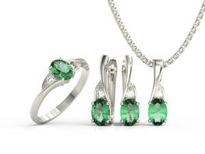 Zestaw pierścionek, kolczyki i wisiorek z białego złota z szmaragdami i diamentami AP-60B-ZEST - 2824316612