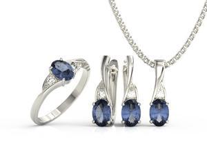 Zestaw pierścionek, kolczyki i wisiorek z białego złota z szafirami i diamentami AP-60B-ZEST - 2824316613