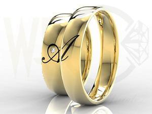 Obrączki ślubne złote z brylantem 0,02ct (para) z inicjałami wykonanymi w emalii OB-02Z - 2824316614