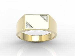 Sygnet z żółtego złota z diamentani SJ-26Z-D - 2824316430