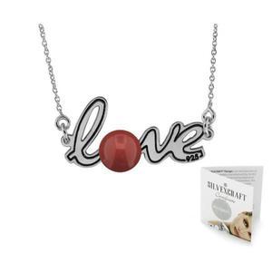 Naszyjnik ze srebra z napisem LOVE i perłą Swarowski Elements (czerwoną) - 2836715886