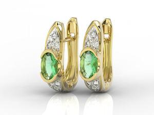 Kolczyki z żółtego złota ze szmaragdami i diamentami APK-80Z - 2840723195