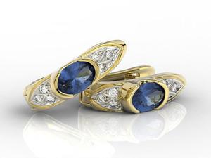Kolczyki z żółtego złota z szafirami i diamentami APK-80Z - 2840723196