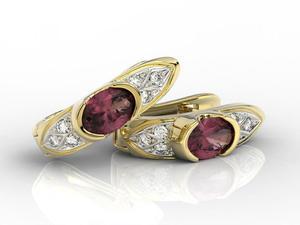 Kolczyki z żółtego złota z rubinami i diamentami APK-80Z - 2840723197