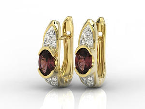 Kolczyki z żółtego złota z granatami i diamentami APK-80Z - 2840723198