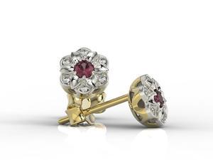 Kolczyki z żółtego i białego złota z rubinami i brylantami JPK-87ZB - 2841311894