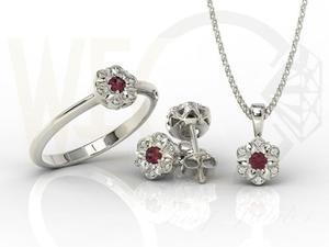 Komplet: pierścionek, kolczyki i wisiorek z białego złota z rubinami i diamentami JP-87B-ZEST - 2841311930