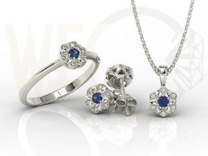 Komplet: pierścionek, kolczyki i wisiorek z białego złota z szafirami i diamentami JP-87B-ZEST - 2841311931