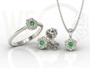 Komplet: pierścionek, kolczyki i wisiorek z białego złota ze szmaragdami i diamentami JP-87B-ZEST -...