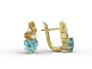 Kolczyki z żółtego złota z topazami niebieskimi w kształcie serca i diamentami APK-53Z - 2841311928