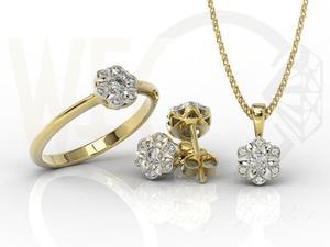 Komplet: pierścionek, kolczyki i wisiorek z żółtego i białego złota z diamentami JP-87ZB-ZEST - 2841311934