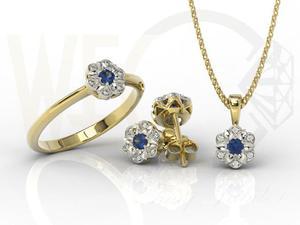 Komplet: pierścionek, kolczyki i wisiorek z żółtego i białego złota z szafirem i diamentami JP-87ZB-ZEST - 2841311936
