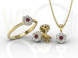 Komplet: pierścionek, kolczyki i wisiorek z żółtego i białego złota z rubinem i diamentami...