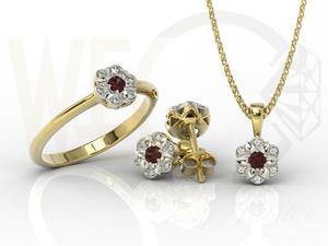 Komplet: pierścionek, kolczyki i wisiorek z żółtego i białego złota z granatem i diamentami JP-87ZB-ZEST - 2841311938