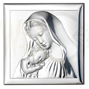 Ryngraf z powłoką srebra Matka Boska z Dzieciątkiem SVL800/3L - ok. 8 cm \ ok. 8 cm - 2842307798